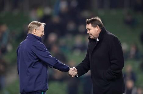 Joe Schmidt with Steve Hansen before the game