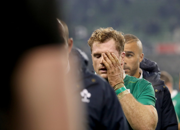 Jamie Heaslip dejected after the game