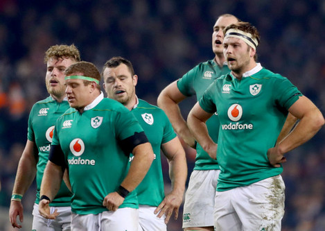 Finlay Bealham, Sean Cronin, Cian Healy, Devin Toner and Iain Henderson dejected