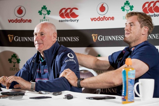 Jamie Heaslip congratulates Mick Kearney on what was his last media engagement before stepping down from the role