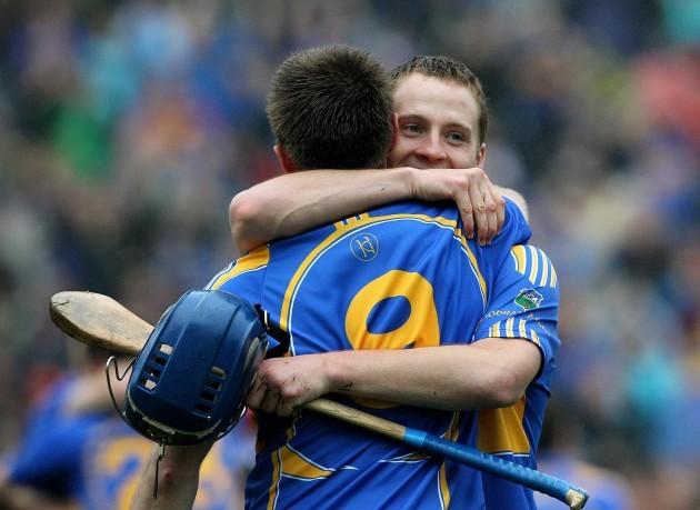 Paddy Stapleton celebrates with Shane McGrath