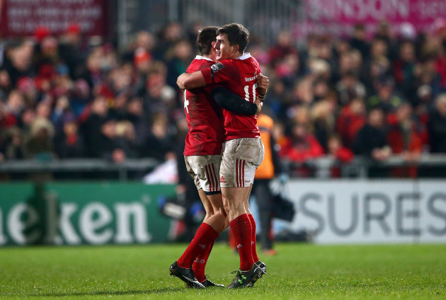 Gerhard van den Heever and Ian Keatley celebrate at the final whistle