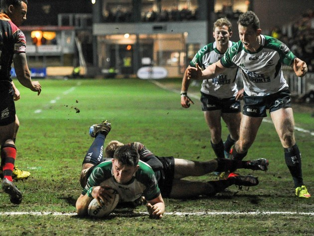 Eoghan Masterson scores his side's third try