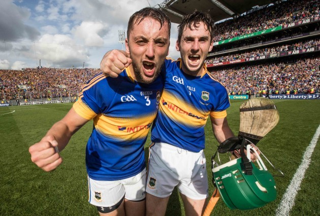 James Barry and Cathal Barrett celebrate the final whistle