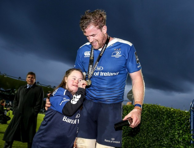 Jamie Heaslip celebrates with Jennifer Malone
