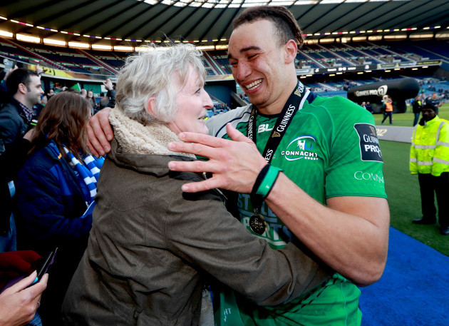 Ultan Dillane celebrates with his mum Ellen