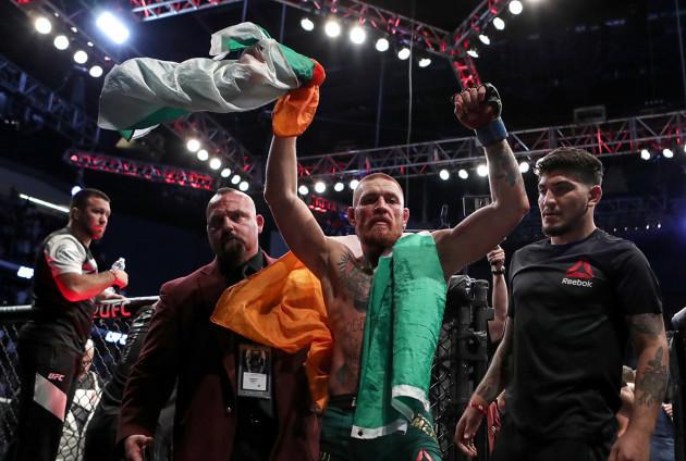 Conor McGregor celebrates winning 20/8/2016