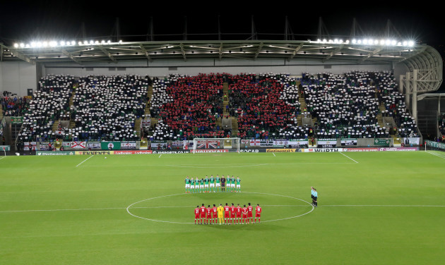 Northern Ireland fans during the minute's silence to remember those who died during the First World War