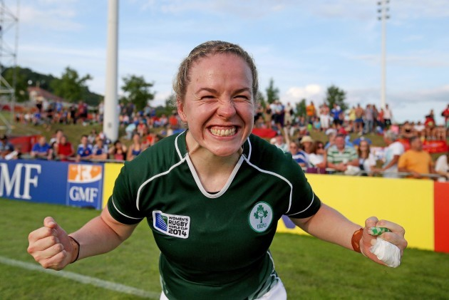 Niamh Briggs celebrates after the game