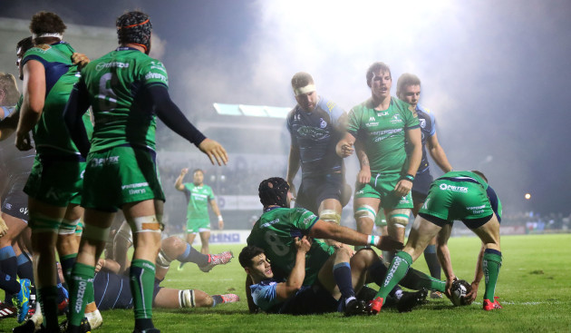 John Cooney scores his side's first try