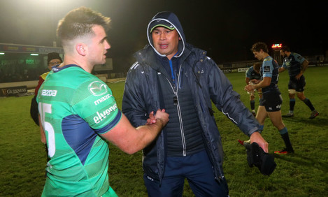 Cian Kelleher and Pat Lam after the game
