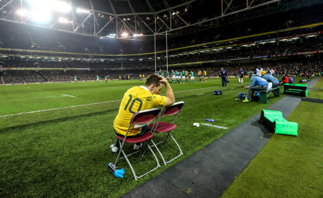 Bernard Foley dejected after being yellow carded late in the game