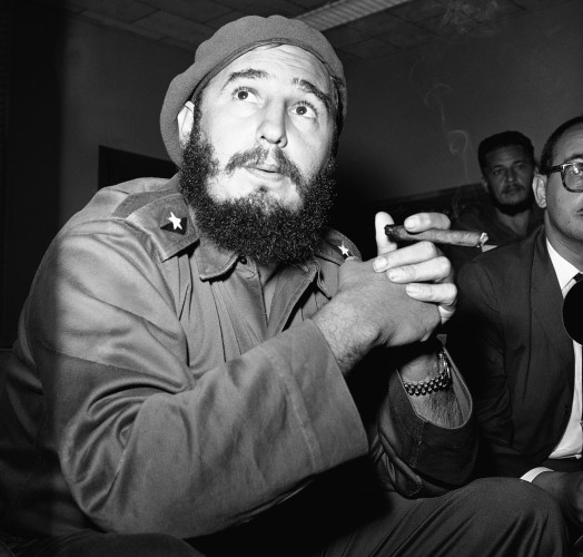 Fidel Castro Prime Minister Smoking Cigar News Conference Close Up