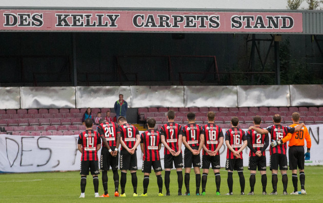 Bohs' stand for a minutes silence for Des Kelly