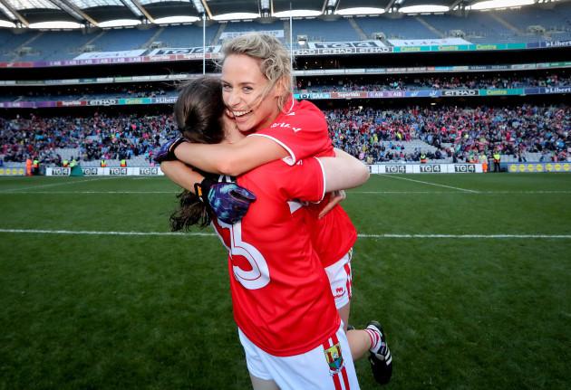 Orla Finn celebrates with Aine O'Sullivan