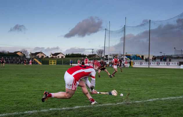 David Treacy takes a sideline cut