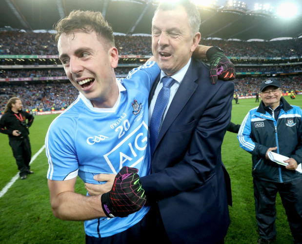 Cormac Costello celebrates with his father celebrates with John Costello