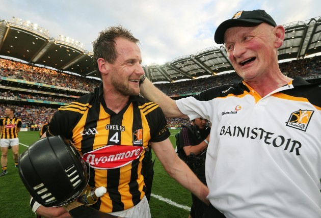 Jackie Tyrrell and Brian Cody celebrate at the final whistle