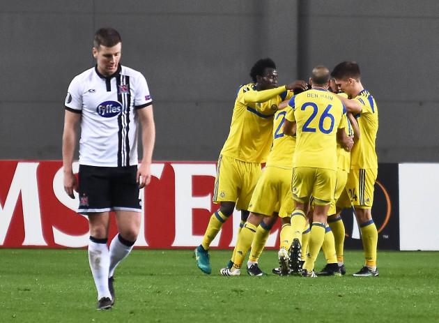 Patrick McEleneny dejected after Dor Miha scored Maccabi Tel Aviv's second goal