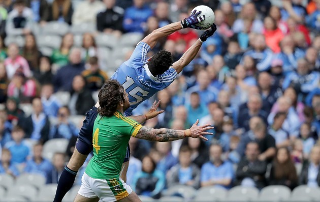 Bernard Brogan catches a ball over the head of Meath's Mickey Burke