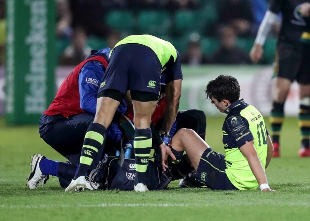 Joey Carbery is treated for an injury
