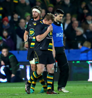 Dylan Hartley leaves the field after being red carded