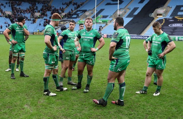 Ultan Dillane ,Sean O'Brien, Rory Parata, Finlay Bealham, JP Cooney and Matt Healy dejected after the match
