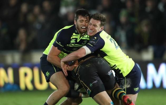 Leinster's  Ross Byrne and Rory O'Loughlin