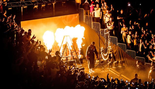 Anthony Joshua enters the ring
