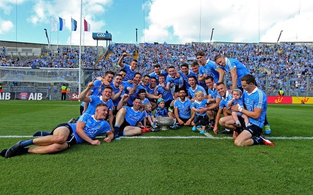 The Dublin players celebrate in front of Hill 16