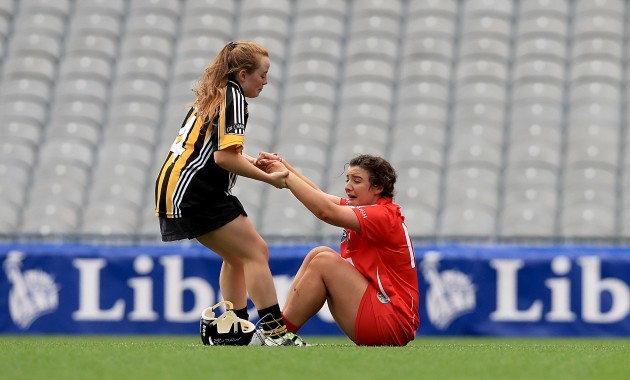 Linda Collins consoled by Niamh Sweeney