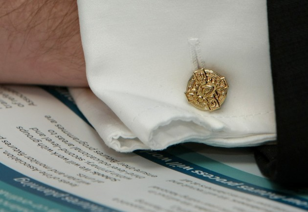 General view o Christy Cooney's cufflinks