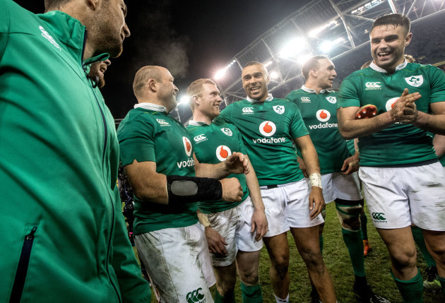 Rory Best, Keith Earls, Simon Zebo and Conor Murray celebrate