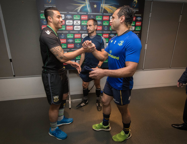 Isa Nacewa and George Pisi with Referee Romain Poite at the coin toss