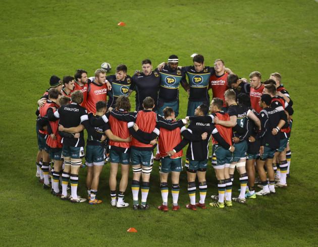 The Northampton Saints team huddle
