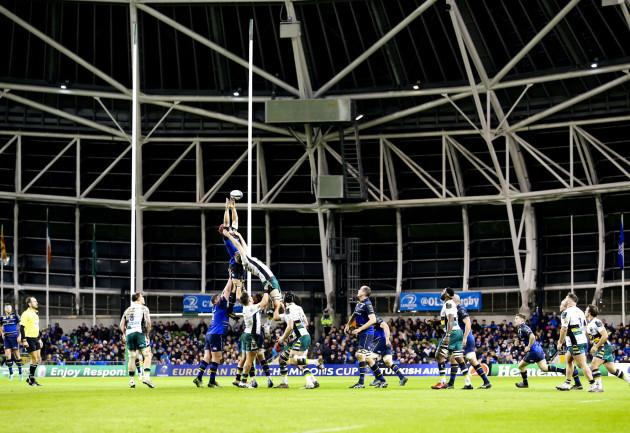 A general view of LeinsterÕs Josh Van der Flier claiming a line-out