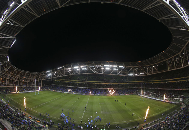A general view of the Aviva Stadium as both sides enter the pitch