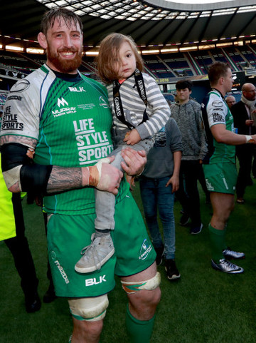Aly Muldowney celebrates with his son Arlan