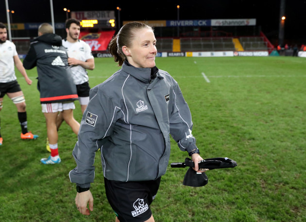Helen O'Reilly who is the 1st women to officiate as an assistant referee in the Guinness Pro12