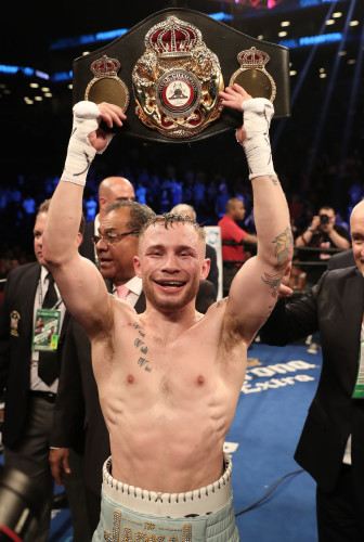 Carl Frampton celebrates after defeating Leo Santa Cruz
