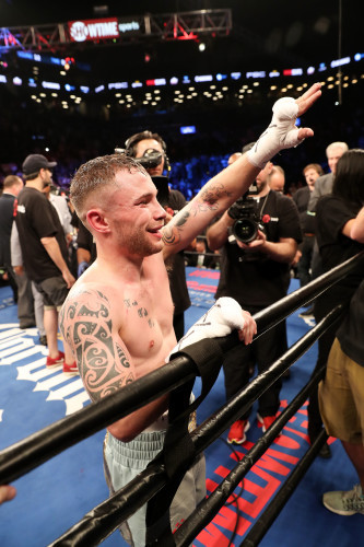Carl Frampton celebrates after his fightt with Leo Santa Cruz