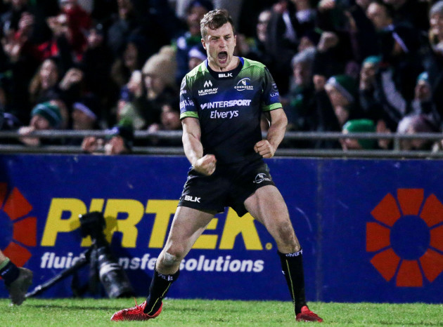 Jack Carty celebrates a conversion that wins Connacht the game