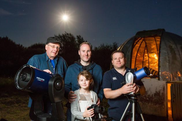 Midlands Astronomy Club from Left Sean McKenna, Adrian Moore & Daughter Raonaid (10), Jason Fallon