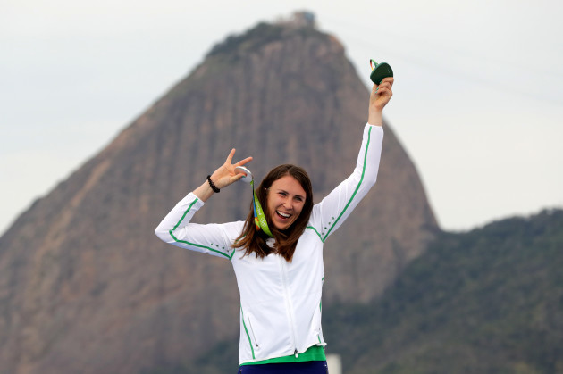 Annalise Murphy celebrates receiving her silver medal
