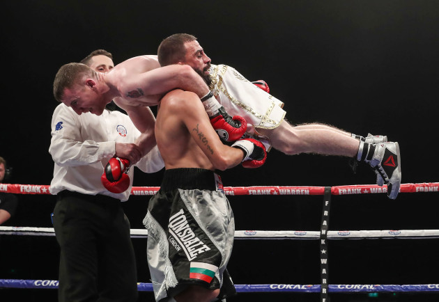Paddy Barnes defeats Stefan Slachev after he was disqualified for lifting him
