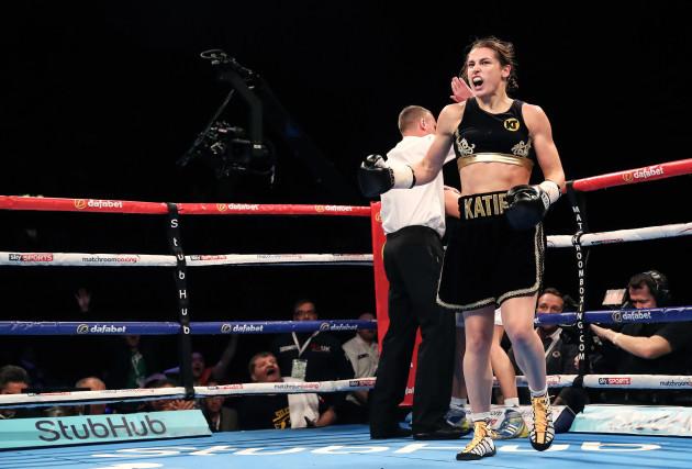 Katie Taylor celebrates her win