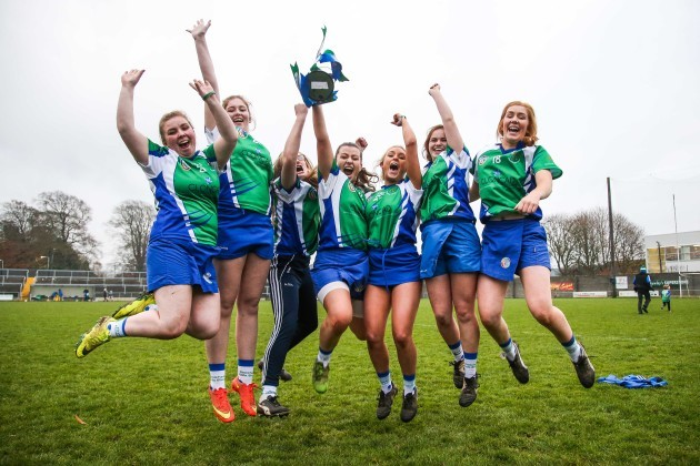 Chloe Doyle, Natasha Farrell, Aine O'Neill, Erin McEvoy, Laura Newman, Sally Morrin and Leanne Holton celebrate after the game