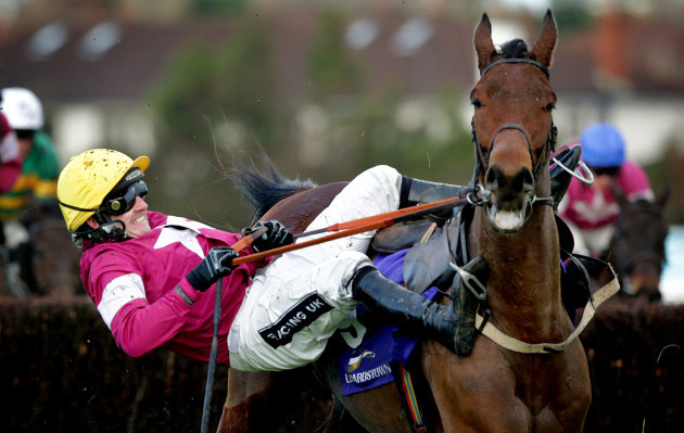 Ruby Walsh falls from Valseur Lido at the last fence
