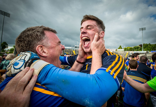 Tipperary manager Liam Kearns celebrates with Evan Comerford