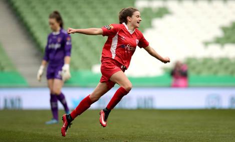 Leanne Kiernan celebrates scoring